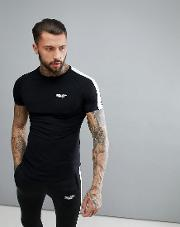 muscle t shirt in black with stripe