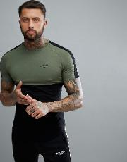 muscle t shirt in khaki with stripe