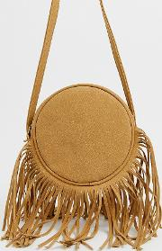 London Camel Suede Round Shoulder Bag With Long Fringing