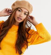 London Exclusive Camel Beret Hat