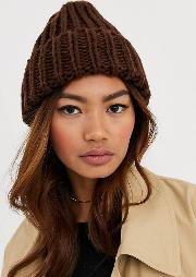 London Exclusive Chocolate Knitted Beanie Hat