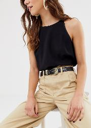 London Exclusive Mock Croc Western Buckle Waist And Hip Jeans Belt