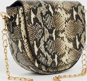 London Exclusive Snakeskin Chain Strap Shoulder Bag