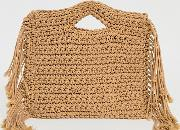 London Exclusive Straw Grab Bag With Fringing