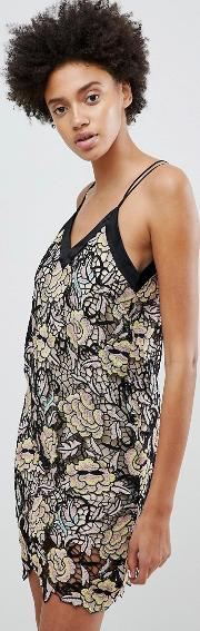 Midnight Blooms Lace Slip Dress