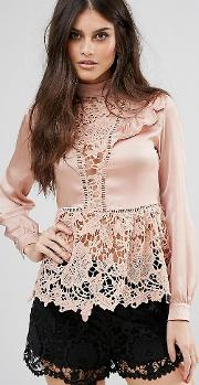 Premium Lace Blouse With Pephem And Frills