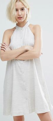 High Neck Swing Dress With Button Front