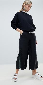 wide leg trouser with contrast flared panel
