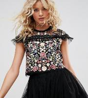 Embroidered Top With Frill Detail