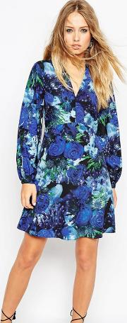enchanted floral print skater dress with bell sleeve