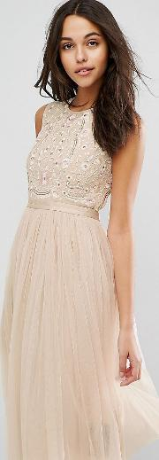 Prarie Embroidered Tulle Midi Dress