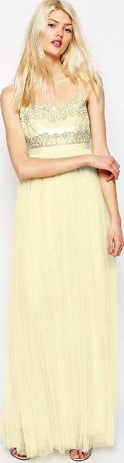 strappy backless tulle embellished maxi dress