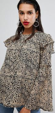 Blouse Will Bell Sleeves In Leopard