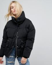 Extreme Oversized Padded Coat With High Collar