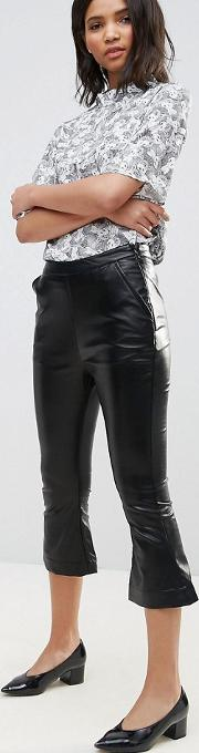 faux leather kick flares