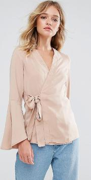 fluted sleeve wrap blouse