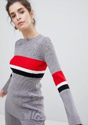jumper with block stripe co ord