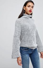 Jumper With Cocoon Roll Neck