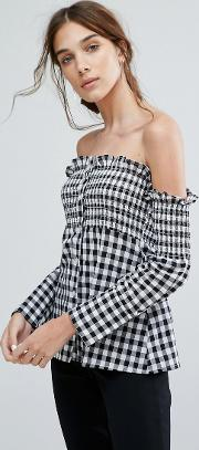 Off Shoulder Long Sleeve Top With Shirring  Gingham