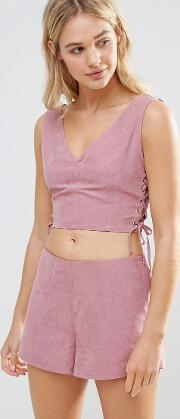 pink faux suede lace up crop top