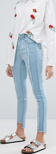 reconstructed skinny jeans with frayed panels