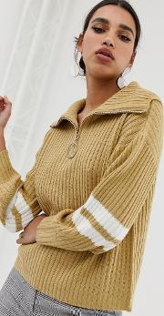Relaxed Jumper With Half Zip And Stripe Sleeves