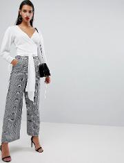 wide leg trouser in prince of wales check