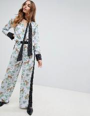 wide leg trousers in mixed print