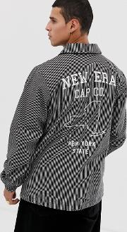 Pinstripe Coach Jacket With Embroidered Back Logo