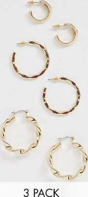 3 Pack Twist Hoop Earrings