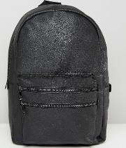 backpack with double front zip in black