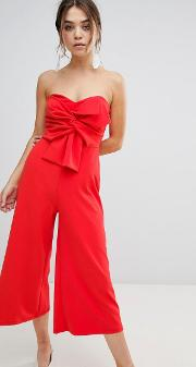 bow front strapless jumpsuit