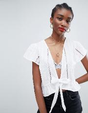 Broderie Tie Front Blouse