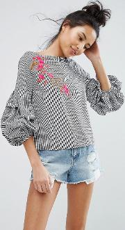 bubble sleeve gingham top
