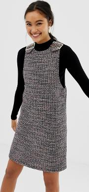 Buckle Detail Pinny Dress Boucle