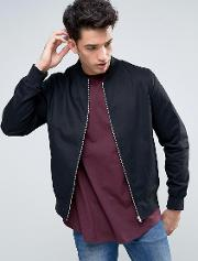 cotton twill bomber in black