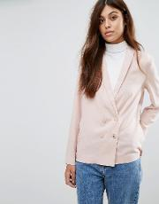 crepe double breasted soft blazer