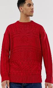 Crew Neck Jumper With Usa Embroidery