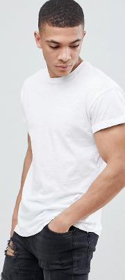crew neck t shirt with roll sleeve in white