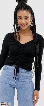 Crop Top With Ruched Front