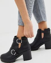 Cut Out Chunky Heeled Boot