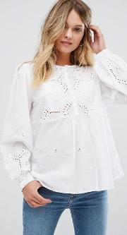 Cutwork Button Front Blouse