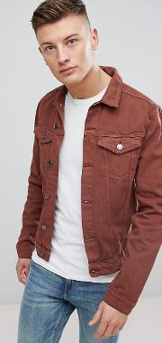 Denim Jacket In Burgundy