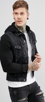 denim jacket with jersey sleeves in black