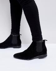 faux suede chelsea boot in black