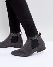 faux suede chelsea boots in grey