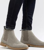 faux suede chelsea boots in light grey