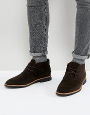 faux suede desert boot in dark brown