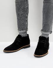 faux suede desert boots in black