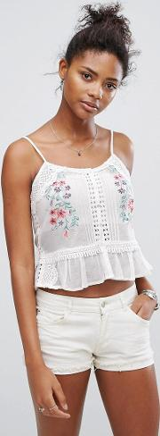 floral embroidered peplum cami